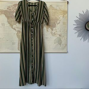 Paolino button up 3/4 sleeve striped maxi dress